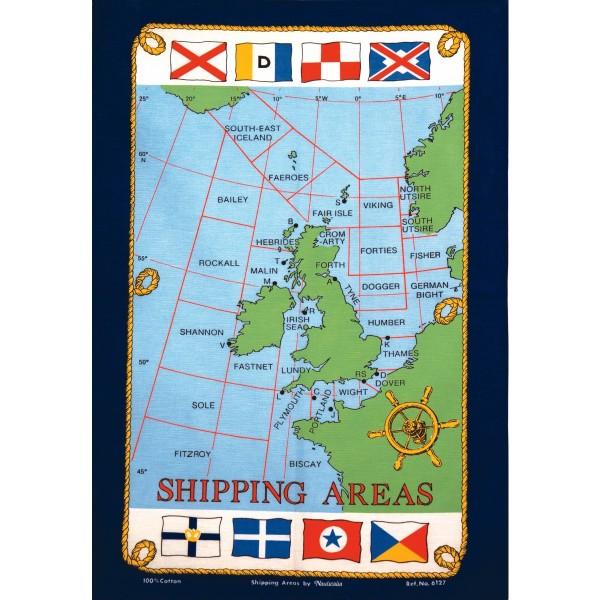 Galley Cloth Tea Towel 'Shipping Areas' Design