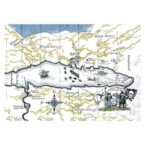 Swallows & Amazons Tea Towel 'The Map'