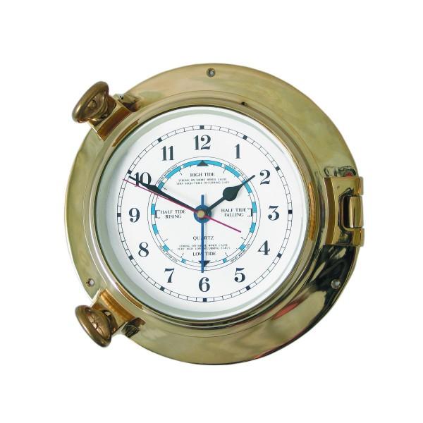 "Royal Mariner Porthole Tide Clock 6"" Brass"