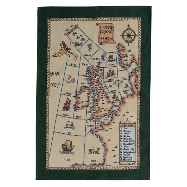 Galley Cloth Tea Towel 'Shipping Forecast Sea Areas' Design