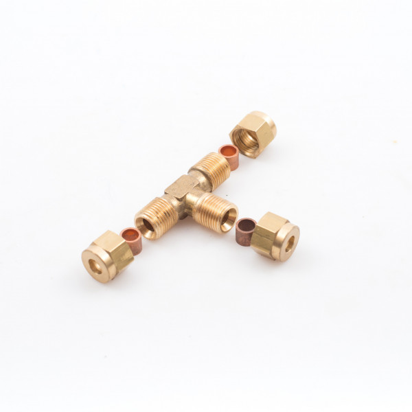 Tees Pipe Compression Brass