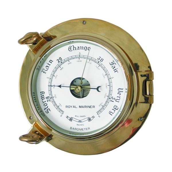"Royal Mariner Porthole Barometer 6"" Brass"