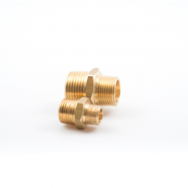 Hex nipples unequal, male, BSP Brass