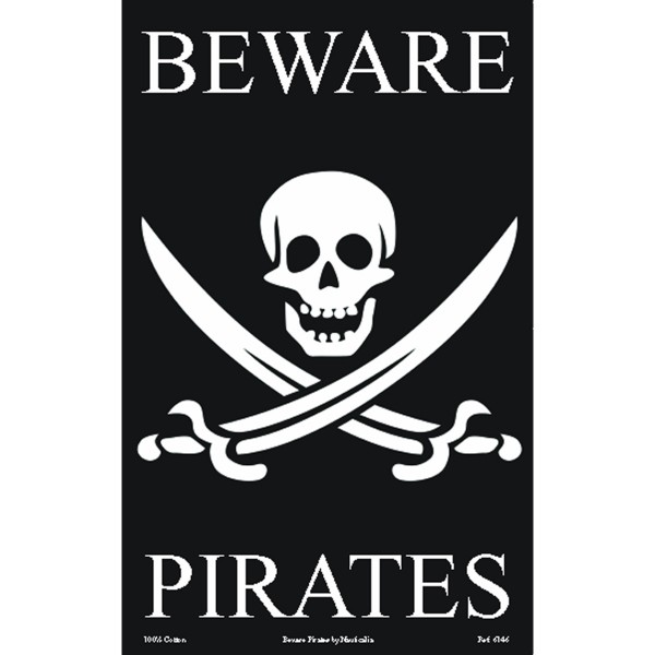Galley Cloth Tea Towel 'Beware Pirates' Design