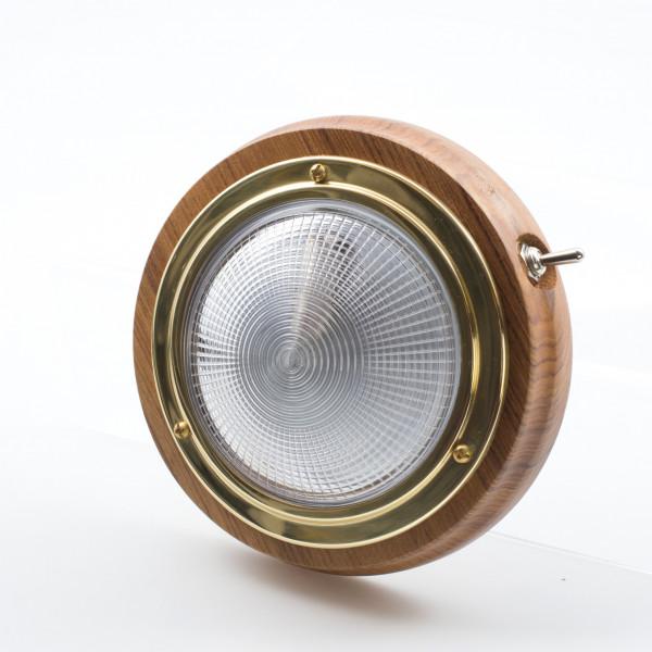 Teak/Brass Switched Light 76mm 12v