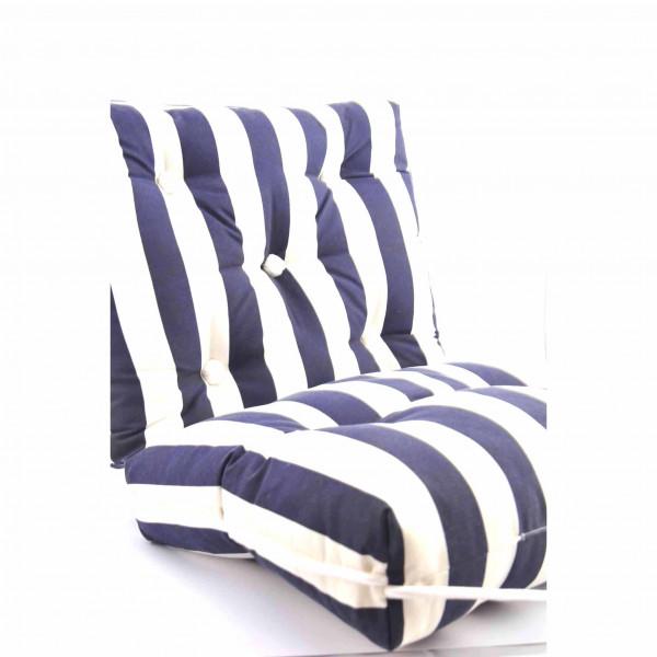 Kapok Cushion Double Blue/White